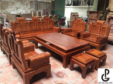 Bộ bàn ghế Âu Á hộp chương Cuốn thư gỗ Hương Vân 10 món
