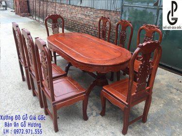 Bộ bàn ghế ăn bầu dục gỗ Hương Vân 8 ghế
