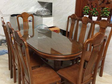 Bộ bàn ghế ăn bầu dục 8 ghế gỗ xoan đào