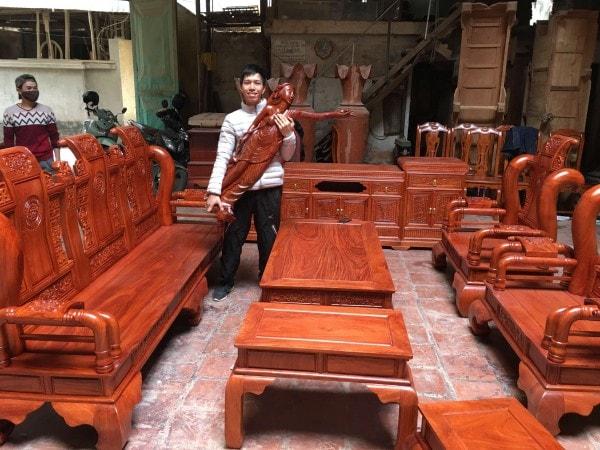 Bộ bàn ghế Tần Thủy Hoàng tay 12 gỗ Hương đá