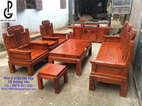 Bộ bàn ghế Như Ý Triện tay hộp gỗ Hương Vân