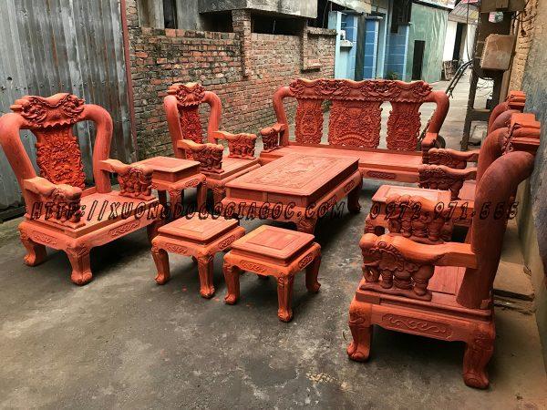 Bộ bàn ghế Minh Voi Chiến Quốc cột 12 gỗ Hương Đỏ