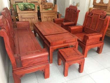 Bộ bàn ghế Âu Á hộp gỗ Gõ Đỏ phun giả Hương