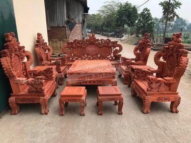 Bộ bàn ghế Nghê Đỉnh phong thủy 10 món gỗ Hương đỏ tay cột 12