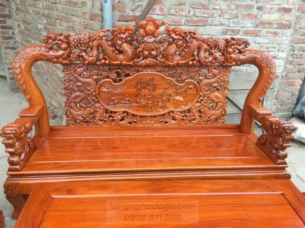 Bộ bàn ghế Rồng Mai Kim Tiền gỗ Cẩm Vàng