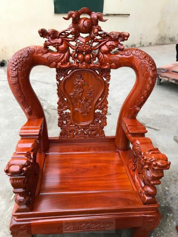 Bộ ghế Rồng Mai Kim Tiền gỗ Cẩm Vàng