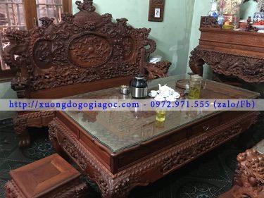 Bộ Rồng Đỉnh 12 món gỗ Hương đỏ Lào