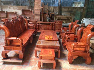 Bộ bàn ghế Tần Thủy Hoàng 6 món cột 14 gỗ Hương Đá