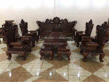Bộ bàn ghế Hoàng Gia VIP gỗ Mun đuôi công 10 món cực kỳ đẳng cấp