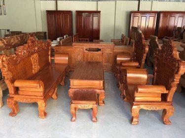 Bộ bàn ghế Hoàng Gia 6 món gỗ gõ đỏ