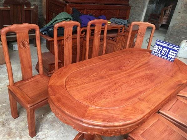 Bàn ăn gỗ hương đá bộ 8 ghế