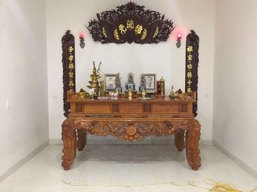 Bộ hoành phi câu đối gỗ gụ cho phòng thờ đẹp