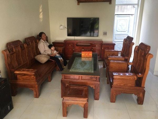 Bộ bàn ghế Âu Á tay hộp chương voi gỗ hương vân 6 món