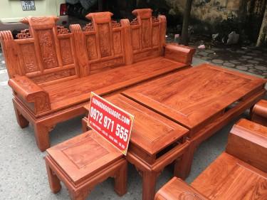 Bộ 6 món bàn ghế Âu Á tay hộp chương cuốn thư gỗ hương đá (chị Thủy, Nam Định)