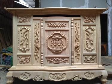 Tủ thờ gỗ gụ (hàng đặt của gia đình chị Thiết, Thái Bình)
