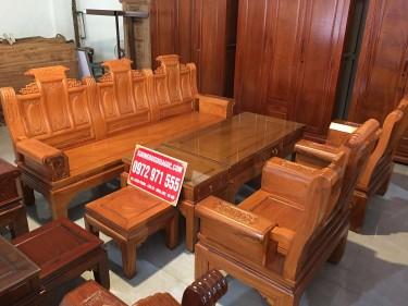 Bộ bàn ghế Âu Á Phúc Lộc Thọ gỗ gõ đỏ