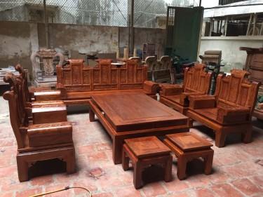 Bộ bàn ghế Âu Á tay hộp 10 món chương cuốn thư gỗ hương vân (anh Tùng, Thái Nguyên)