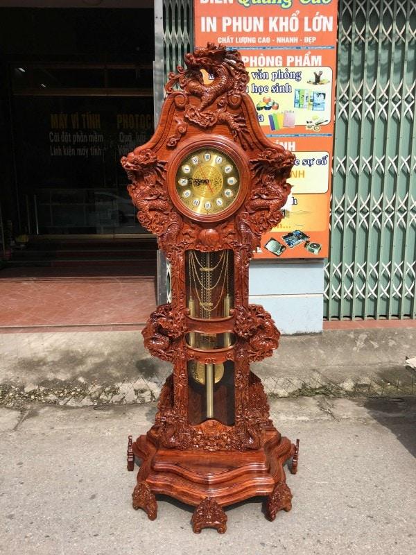 Đồng hồ cây mẫu Rồng Đỉnh gỗ hương vân