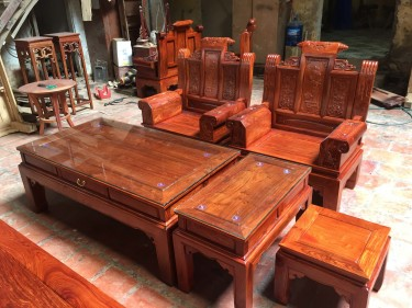 Bộ bàn ghế tay hộp 6 món Âu Á chương cuốn thư gỗ hương vân