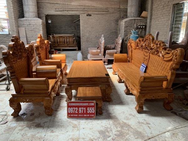 Bàn ghế hoàng gia gỗ gõ
