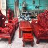 Bộ bàn ghế rồng khuỳnh 6 món tay cột 12 gỗ xà cừ