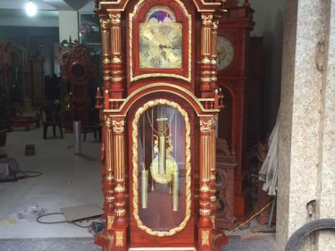 Đồng hồ tứ trụ gỗ hương dát vàng