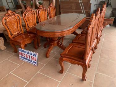 Bộ bàn ghế ăn Louis hoa hồng đục 2 mặt - Chú Trí, Hà Đông