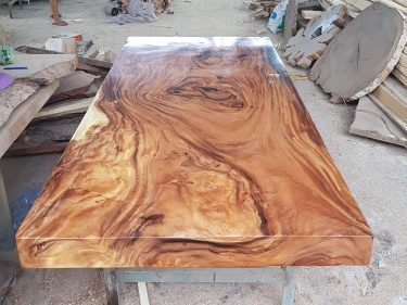 Bàn nguyên tấm gỗ me tây siêu khủng dài 2m, rộng 1m2