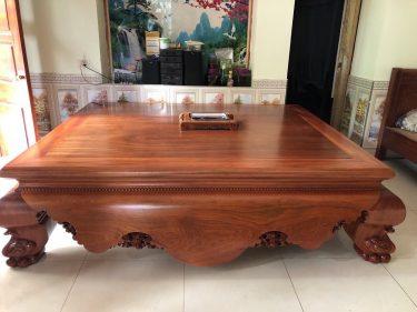 Sập ngồi phòng khách gỗ hương đá trơn 1m8x2m2 (Cô Oanh, Sóc Sơn, Hà Nội)
