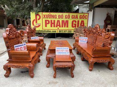 Bộ bàn ghế Hoàng Gia V4 Chân 14 Gỗ Hương Đá mẫu mới năm 2021