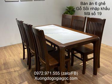 Bàn ăn 6 ghế nhập khẩu gỗ sồi MS18
