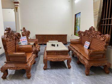 Bộ bàn ghế hoàng gia V4 Gỗ hương đá mẫu mới nhất năm 2021