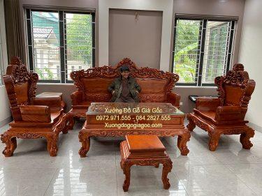 Tổng thể bộ bàn ghế hoàng gia V5 gỗ hương đá