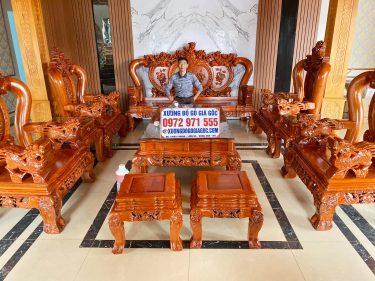 Bộ bàn ghế nghê phượng tay cột 12 gỗ hương đá hàng tiêu dùng