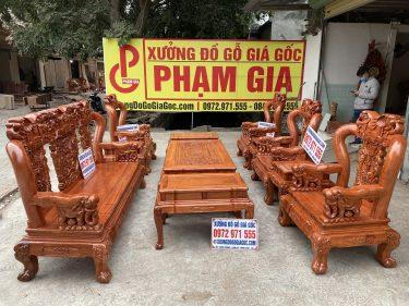 Bộ bàn ghế quốc voi tay cột 12 làm theo kích thước cột 14 gỗ hương đá