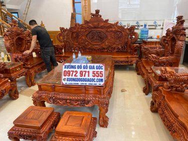 Bộ bàn ghế rồng đỉnh tay 14 gỗ hương hàng đục thủ công 100%