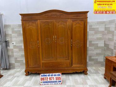 Tủ quần áo 4 cánh chất liệu gỗ gõ