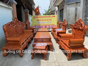 Bàn ghế hoàng gia V4 chân 16 gỗ hương đá bộ 10 món