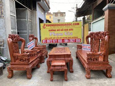 Bộ bàn ghế quốc voi tay cột 12 gỗ hương